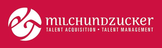 milch & zucker Logo mit Unterzeile in 4C negtiv auf Rot