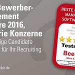 Beitragsbild Testsieger Siegel BeeSite Bestes Bewerbermanagement Konzerne