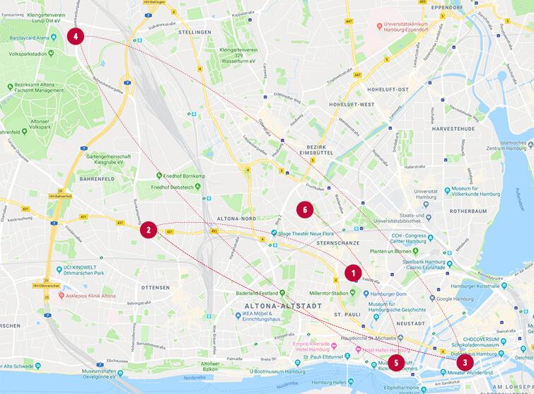 milch & zucker Standorte Hamburg Karte