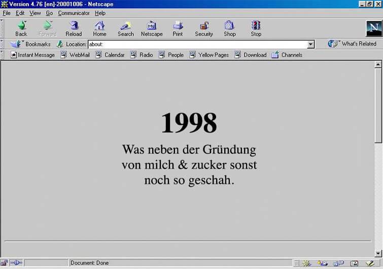 1998 - Gründungsjahr milch & zucker - was sonst noch geschah