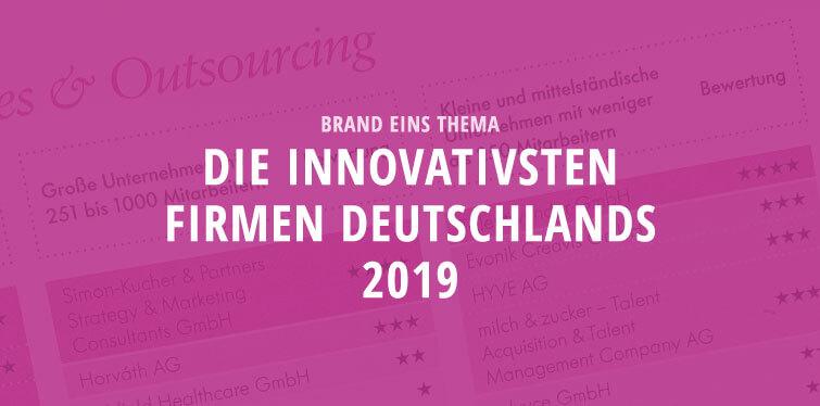 brand eins topic - die innovatisten Unternehmen Deutschlands 2019