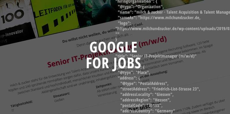 Beitragsbild Stellenanzeige von milch & zucker aus Recruiting Software BeeSite und Google for Jobs-Schema