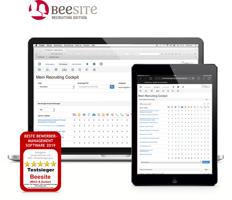 BeeSite Recruiting Edition - Testsieger - beste Bewerber-Management Software 2019