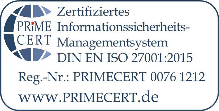 Logo ISO Zertifizierung 27001