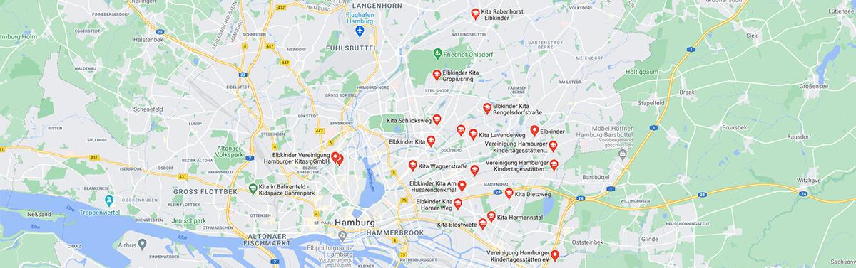 elbkinder Kitas in Hamburg auf einer Map